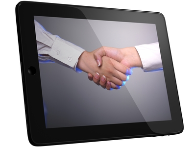 handshake on tablet screen